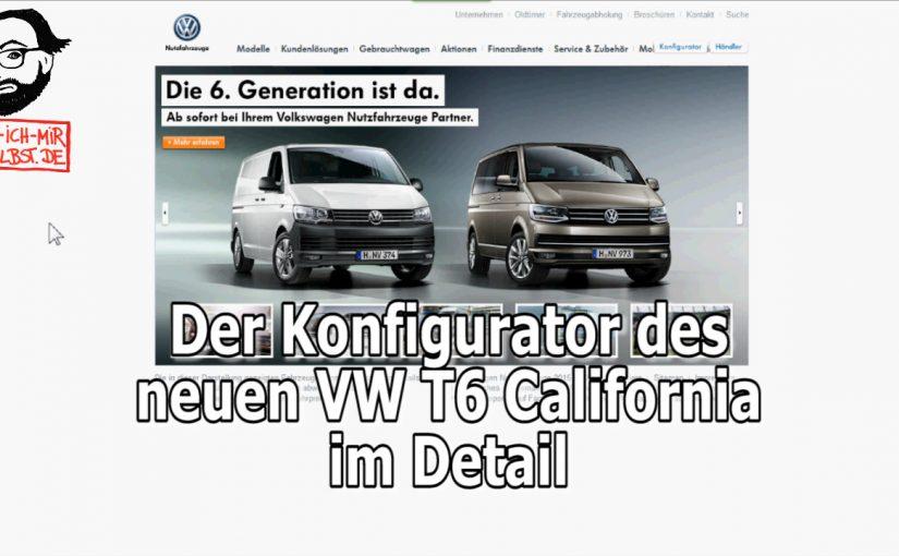 VW T6 Konfigurator – für den California im Detail durchgesprochen